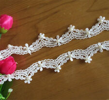 1m Vintage Flower Polyester Pearl Lace Edge Trim Ribbon Appliques Sewing Craft