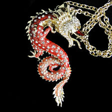 AIMO Chinese Dragon Pendant Necklace Red Enamel Austrian Crystal Gold GP Women
