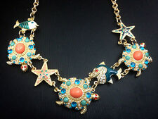 N806 Betsey Johnson Ocean Fish Starfish Sea Star Reef Turtle Summer Necklace US