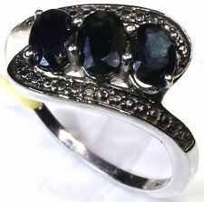Black Sapphire 3 Stone Ring Platinum Overlay Sterling Silver Size 8 TGW 2.25 Cts