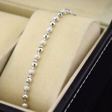 "18k White Gold Filled Bracelet 8""Chain Link 4mm Beads Dangle GF Wedding Jewelry"