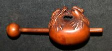 Netsuke Hand Carved Wood Figurine Dragon and Rooster on Stick Japan Signed