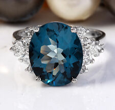 6.00CTW Estate Natural London Blue Topaz and Diamonds in 14K White Gold Ring