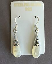 Mother of Pearl Inlay in Genuine .925 sterling silver Earrings Stamped