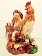 Ceramic Rooster Hen Chicks Zodiac Statue Figurine Country Farm Home Decor