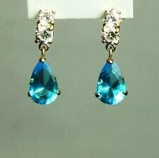 14K solid yellow gold teardrop natural Topaz Blue & white Topaz earring/teens