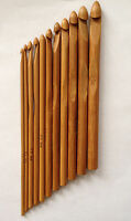 New! 12 pcs Set Bamboo Carbonized Crochet Hooks Sizes 3.0mm to 10mm Brown Hook