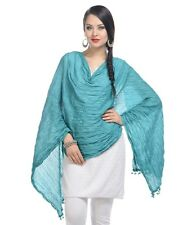 Women's Traditional Ethnic clothing apparel Cotton Plain Turquoise Dupatta/stole
