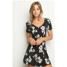 Rare! Brandy Melville White Black Floral Button Tie Back Jacky Dress