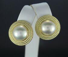 14K Yellow Gold 13mm Mabe Pearl Earrings with Omega Backs Twisted Rope Cable
