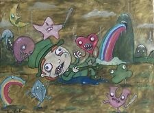GUS FINK art outsider ORIGINAL painting ooak lowbrow surreal UN LUCKY CHARMS