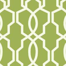 Wallpaper Designer Hourglass Geometric Lattice Trellis White on Lime Green