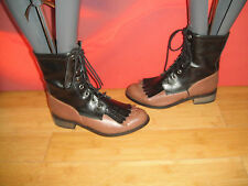 SUPERB ASOS BLACK BROWN LEATHER  ANKLE  BOOTS UK 4 *19* indie retro