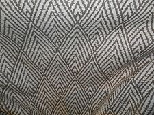 DARK TAUPE AND CREAM CHEVRON GEOMETRIC COTTON PRINT UPHOLSTERY FABRIC