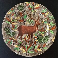 """Impressive GIEN 13.5"""" chop serving plate/platter RAMBOUILLET French faience STAG"""