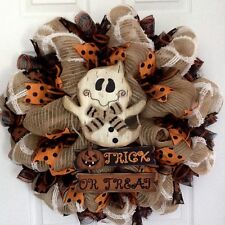 Friendly Ghost Trick  Or Treat Handmade Deco Mesh Halloween Wreath