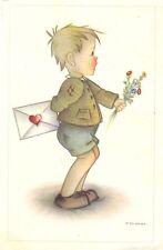 Junge mit Brief und Blumen, sign. F. Probst, ca. 30er/40er Jahre