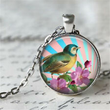 1pcs Vintage Bird Cabochon Silver plated Glass Chain Pendant Necklace