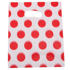 100pcs Wholesale Red Polka Dots White Plastic Flat Carrier Bag Packing Package C