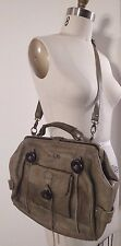 LUCKY PENNY Anthropologie No. 66 Leather Olive Green Army Cross-Body Bag Purse