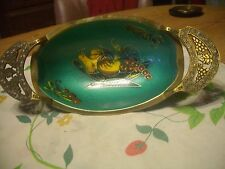 BEAUTIFUL VINTAGE BRASS/ENAMAL HAND PAINTED ORNATE FRUIT BOWL, ISRAEL, WOW!!