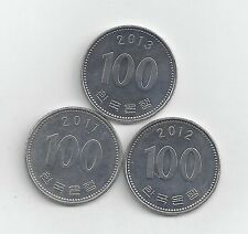3 DIFFERENT 100 WON COINS from SOUTH KOREA (2011, 2012 & 2013)