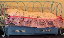 American Girl Doll Curlicue Daybed Trundle Butterfly Bedding Blue Metal Wood Set