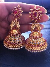 18k on4k Real gold Ruby Bell Earrings Temple Nakshi Jhumki Jhumka Bhuttalu