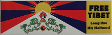 Free Tibet Peaceful Protest Bumper Sticker 22.9cm x 6.8cm