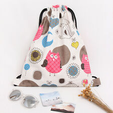 Travelling Drawstring Shoulders Bag Sports Storage Backpack Owls White SD402 S#
