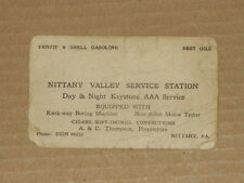 Vintage Advertising Card Nittany Valley Service Station Penzip & Shell Gasoline
