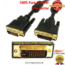 6FT GOLD DVI-D to DVI-D 25 pin 24 +1 DVI Digital Video PC Monitor Cable Lead