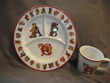 Tiffany & Co Alphabet Bears 2 Piece Child's Set Divided Plate and Mug