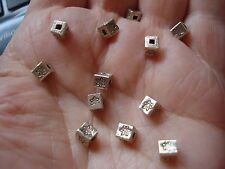 12 Thai Karen Hill Tribe .999 Pure Silver Square Cube Beads, 4x4x4mm,  7.74gm wt