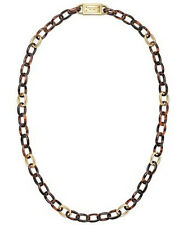 "Michael Kors Necklace 32"" Tortoise Links Goldtone NEW $165 retail"