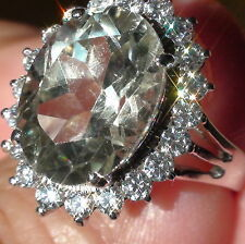 Natural Green Amethyst, Zircon 925 Silver Ring, Estate Jewelry.Size 7,75