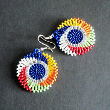 African beaded jewellery circle dangle earrings multi coloured handmade tribal