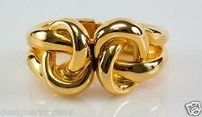 Kenneth Jay Lane Polished Gold Double Knot Hinged Bracelet 8192BPG