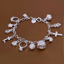 New Women Jewelry 925 Sterling Silver Plated Magic Link Chain Bracelet Bangle
