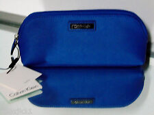 "NEW Calvin Klein Blue LEATHER Zip CLUTCH Cosmetic Bag 9"" Make Up Purse Saffiano"