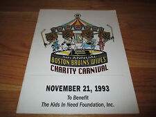 5th Annual BOSTON BRUINS WIVES CHARITY CARNIVAL (11-21-93) Program RAY BOURQUE