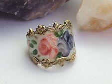 VTG Vargas Rose Enamel Sterling Silver Gold Wash White/Pink/Purple Floral Ring 6