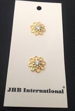 """2 Vintage 5/8"""" JHB Gold Finish Metal With Rhinestone Buttons"""