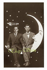 VINTAGE 1920's PHOTO AFFECTIONATE MEN ON PAPER MOON HOLD HANDS GAY INTEREST 140