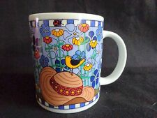GARDEN FLORAL MUG Coffee Cup Hat Watering Can Bird Blue Ceramic 12 oz