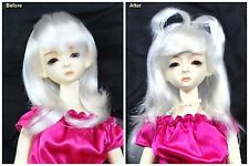 "1/3 8-9"" BJD SD DZ DOD LUTS Recurlable Doll Wig White Medium Straight w/ Bangs"