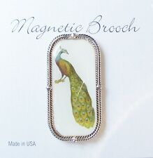 Magnetic Brooch Clip Clasp Pin Peacock Design Accessory Scarves Shawls