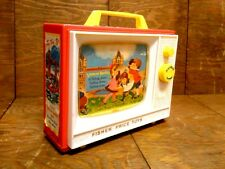 Vtg 1966 Fisher-Price Two Tune Music Box TV WORKS London Bridge Row Your Boat