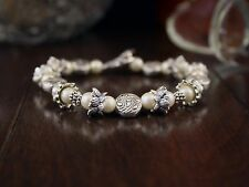 Bracelet Elegant Tibetan Silver Lotus Flowers and Beads with Czech Pearl Beads