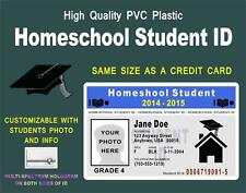 Homeschool Student ID Card    CUSTOMIZABLE WITH PHOTO & INFO    PVC Plastic ID